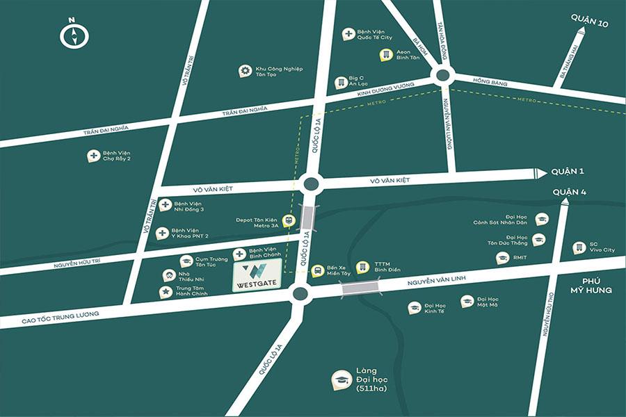 Vị trí chung cư West Gate Bình Chánh với 4 mặt tiền rộng thoáng và kết nối dễ dàng với trung tâm quận 1,3,4...