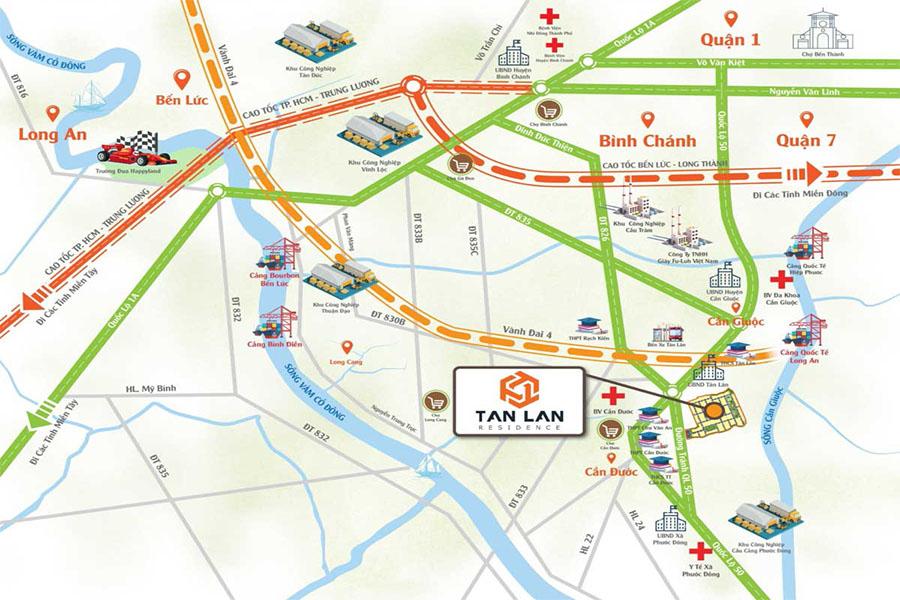 Vị trí đắc địa dự án Tân Lân Residence mặt tiền quốc lộ 50, Cần Đước, Long An