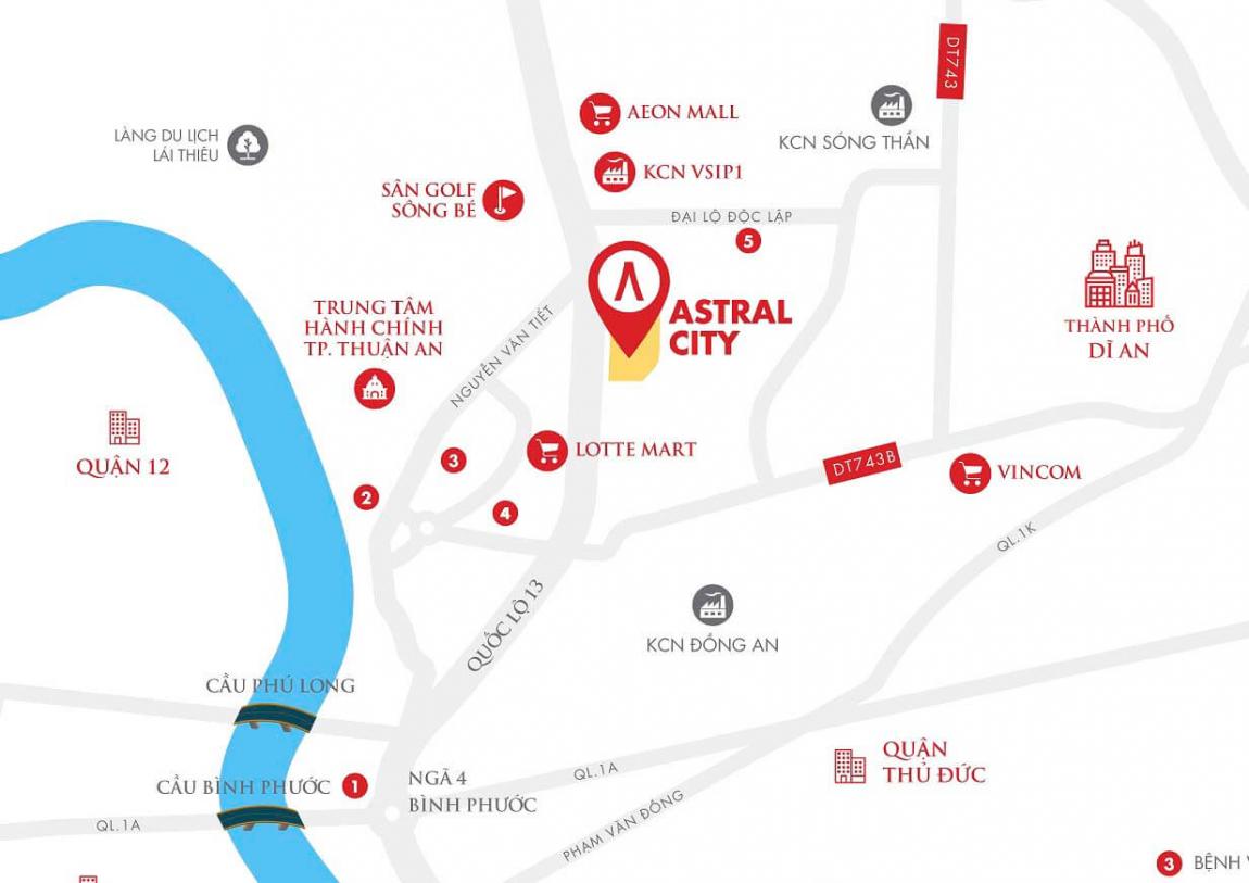 Vị trí dự án Astral City Bình Dương mặt tiền quốc lộ 13