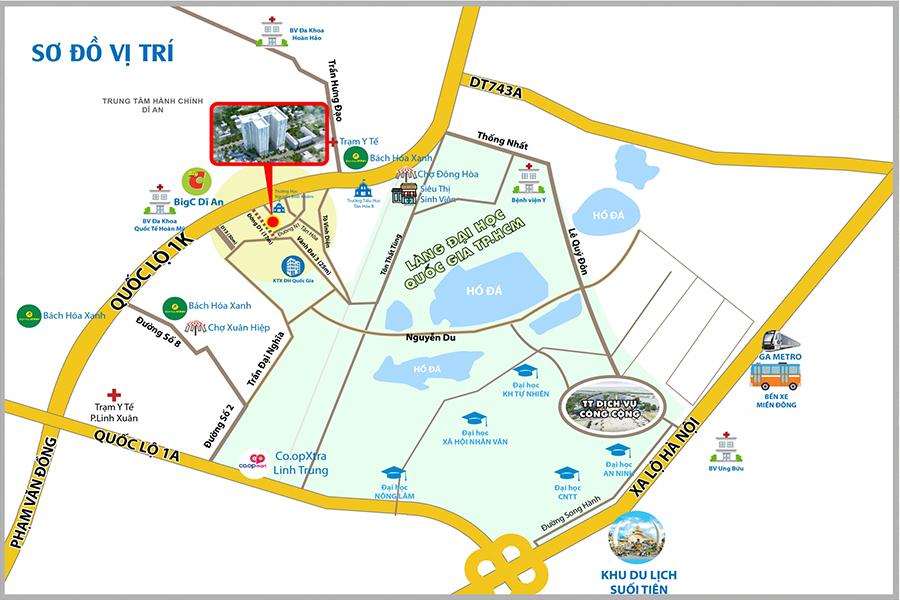 Vị trí khu dự án căn hộ 9X Next Gen tại TP. Dĩ An, Bình Dương. Hotline chủ đầu tư: 0902-600-291