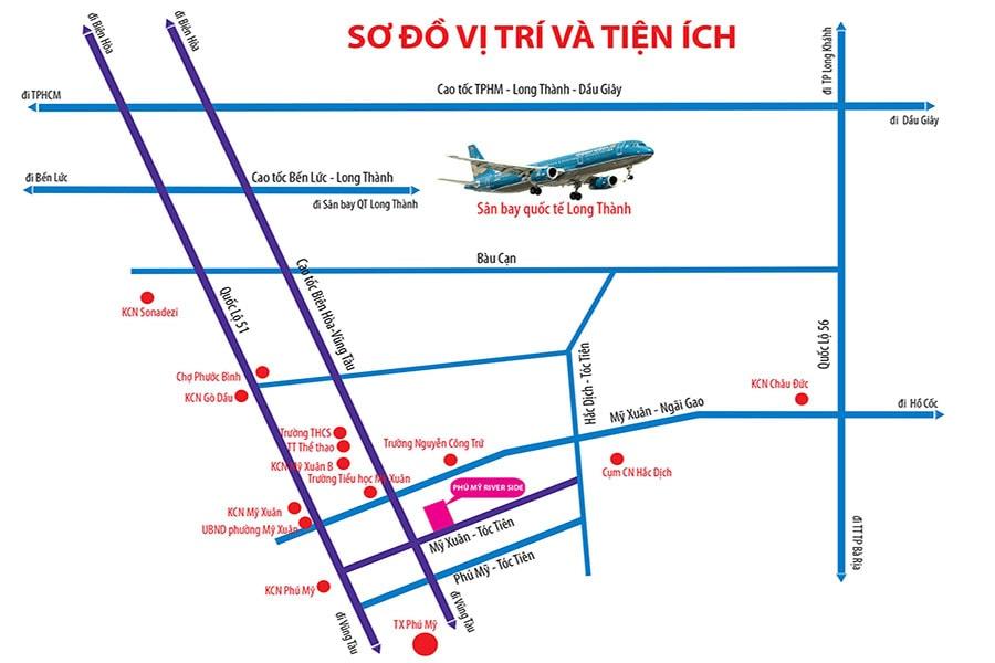 Vị trí dự án đất nền Phú Mỹ Riverside nối liền quốc lộ 51 và cách TP HCM chỉ 60 phút di chuyển