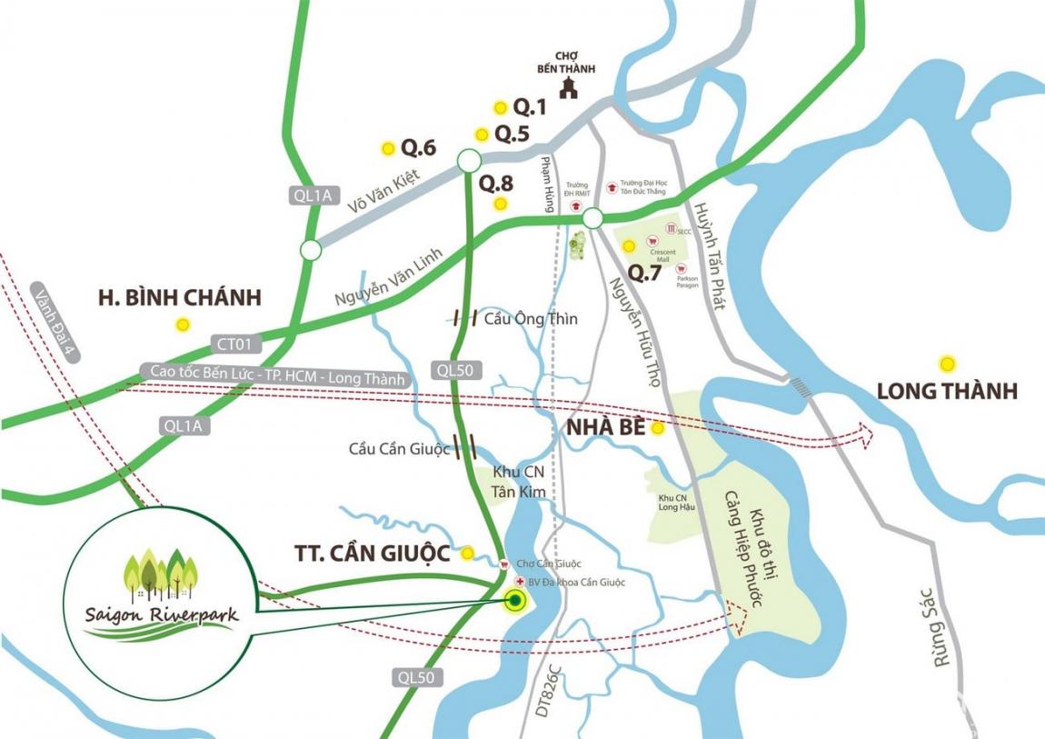 Vị trí khu đô thị sinh thái Saigon Riverpark chủ đầu tư Tân Phú Thịnh Group