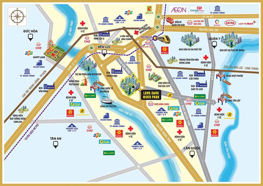 Từ Long Cang Riverpark, cư dân dễ dàng di chuyển về các quận của Tp.HCM với thời gian chỉ từ 20-30 phút