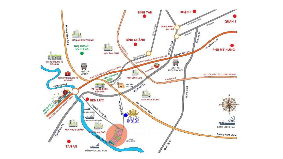 Vị trí dự án khu đô thị Long Cang Riverpark mặt tiền Nguyễn Trung Trực & tỉnh lộ 833B
