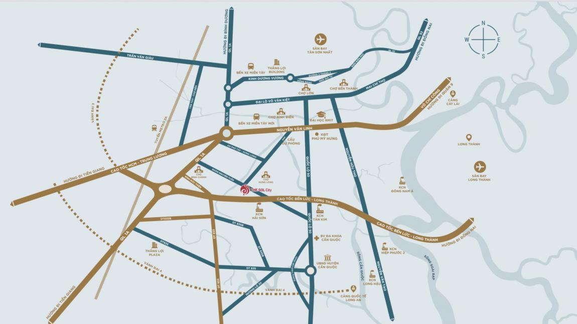 Vị trí dự án The Sol City Long An
