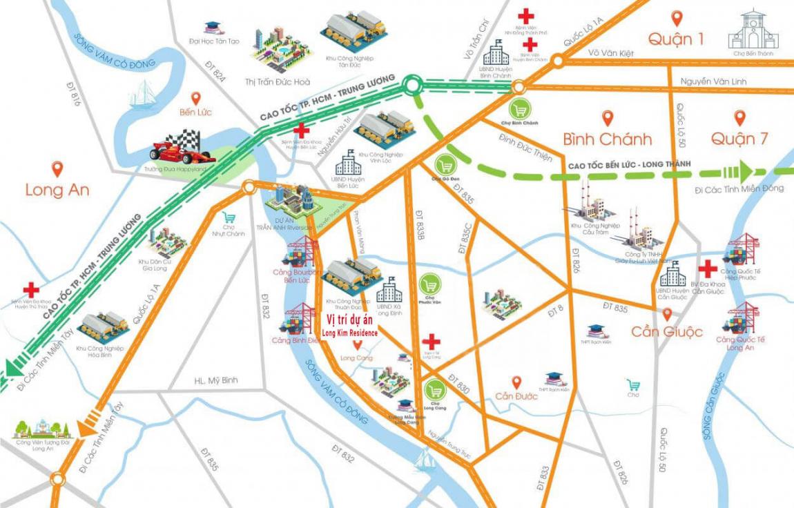 Sơ đồ vị trí dự án Long Kim Residence trung tâm thị trấn Bến Lức