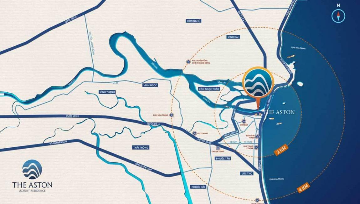 Vị trí dự án căn hộ The Aston Luxury mặt tiền đường Trần Phú, Nha Trang