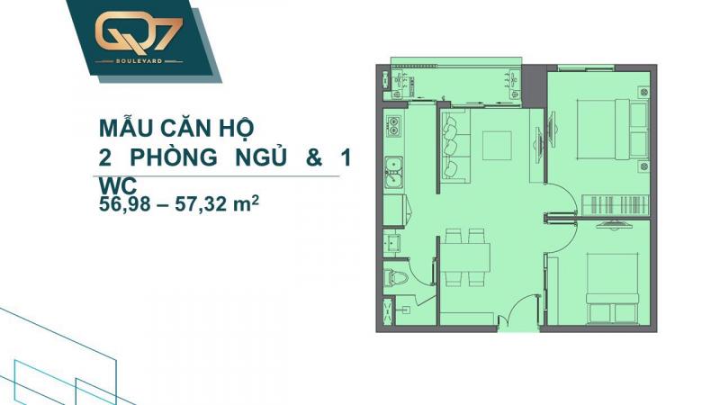 thiết kế căn hộ 2 pn dự án q7 boulevard