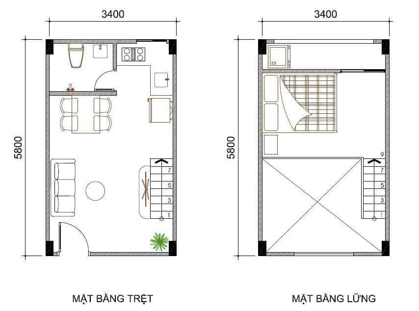 Bảng vẽ chi tiết thiết kế Căn Hộ Mini Xuyên Á 3 với đầy đủ tiện nghi sinh hoạt cho một gia đình có 4 thành viên.