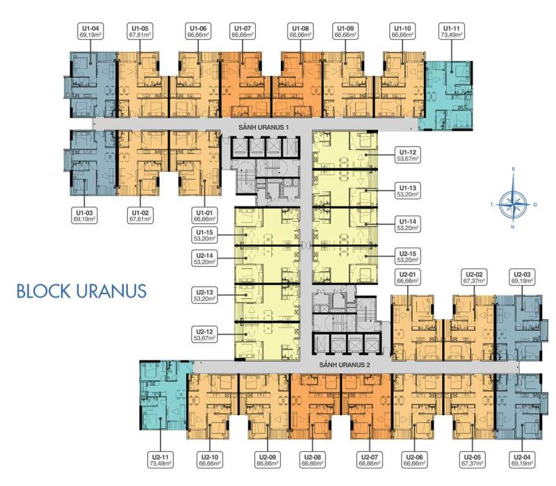 mặt bằng block uranus dự án q7 saigon riverside