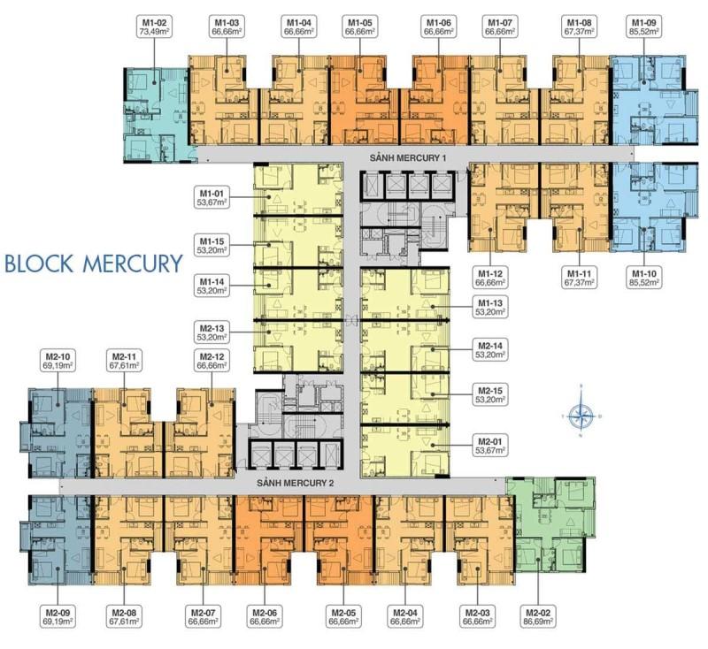 mặt bằng block mercury dự án q7 saigon riverside
