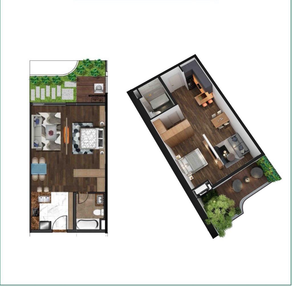 Mô hình thiết kế 3D mẫu căn hộ 1 phòng ngủ dự án Sunshine Horizon Quận 4