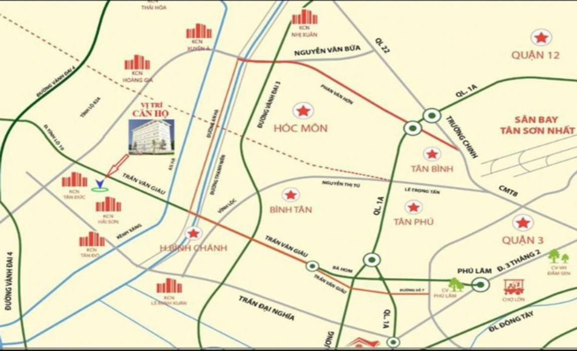 Vị trí đắc địa hiếm có của dự án Chung Cư Mini Đại Lộc khi liền kề KCN Hải Sơn và nhiều KCN lớn khác của Long An.